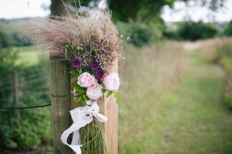 Flowers Outdoor Arragement Ceremony Humanist Field Bright DIY Wedding http://www.christyblanch.com/