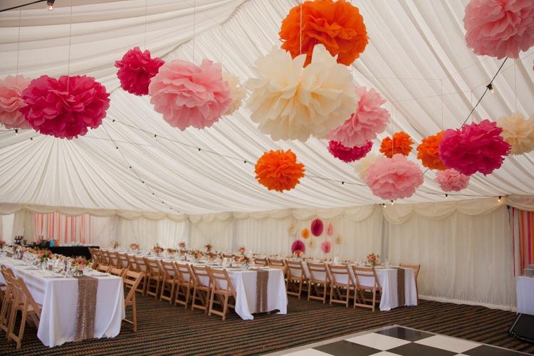 Pom Poms Marquee Humanist Field Bright DIY Wedding http://www.christyblanch.com/