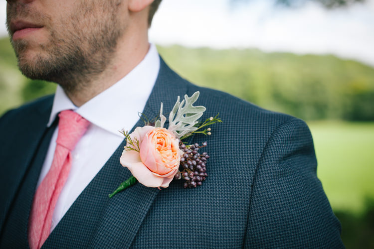 Coral Peach Rose Buttonhole Groom Humanist Field Bright DIY Wedding http://www.christyblanch.com/