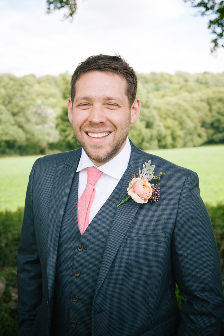 Next Suit Groom Grey Peach Coral Tie Humanist Field Bright DIY Wedding http://www.christyblanch.com/
