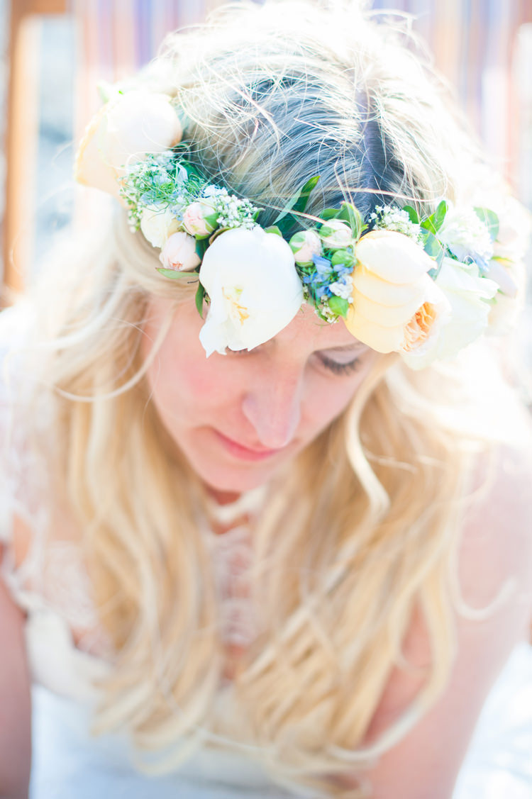 Flower Crown Bride Bridal Peach White Peony Rose Stylish Beach Mermaid Wonderland Wedding http://www.sourceimages.co.uk/