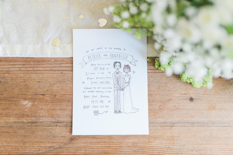 Illustrated Quirky Stationery Invitation Bohemian DIY Pub Garden Wedding http://www.bethanystanley.com/