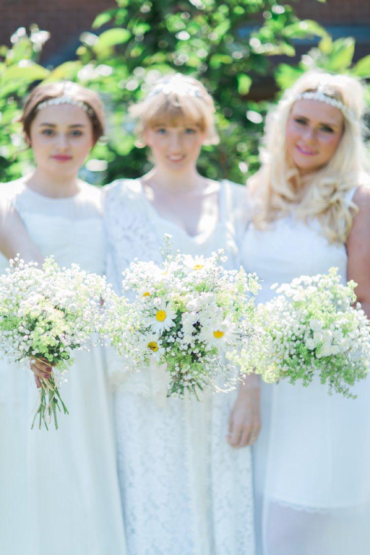 Daisy Bouquets Bride Bridesmaids Flowers Bohemian DIY Pub Garden Wedding http://www.bethanystanley.com/