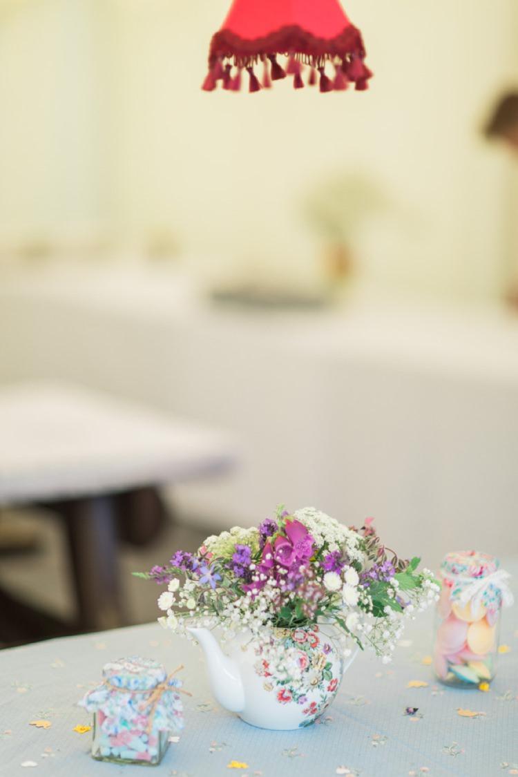 Teapot Flowers Bohemian DIY Pub Garden Wedding http://www.bethanystanley.com/