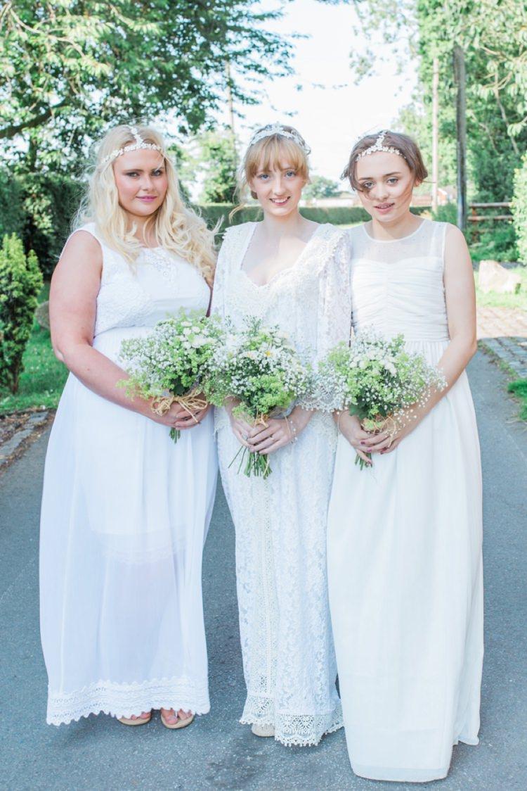 White Bridesmaid Dresses Long Bohemian DIY Pub Garden Wedding http://www.bethanystanley.com/