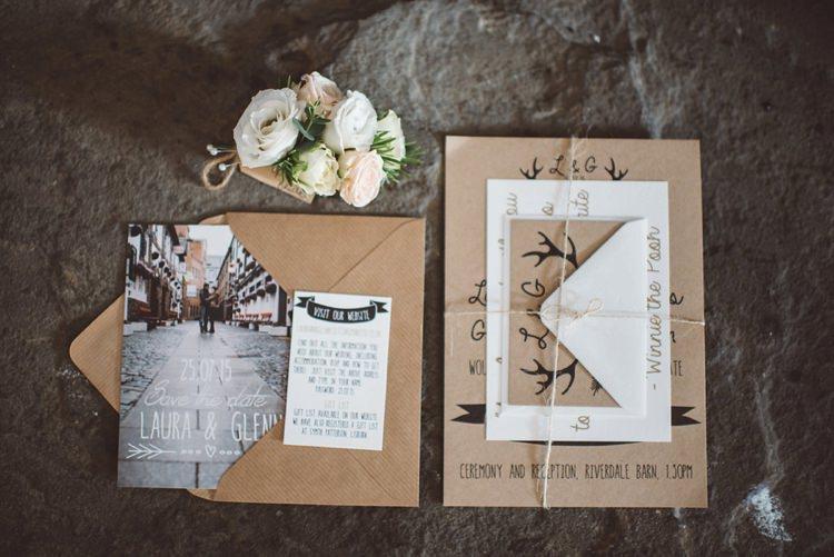 Kraft Brown Paper Stationery Invitations DIY Whimsical Boho Woodland Wedding http://katmervynphotography.com/