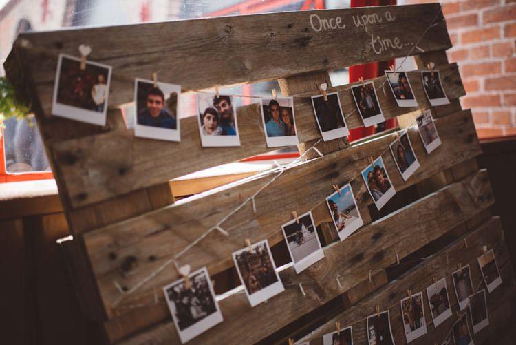 Photo Time Line Pallet Whimsical Boho Woodland Wedding http://katmervynphotography.com/