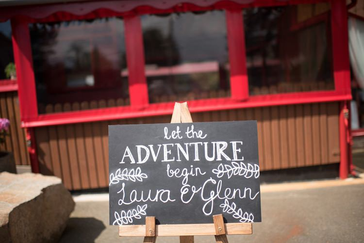 Black Board Sign Adventure Whimsical Boho Woodland Wedding http://katmervynphotography.com/