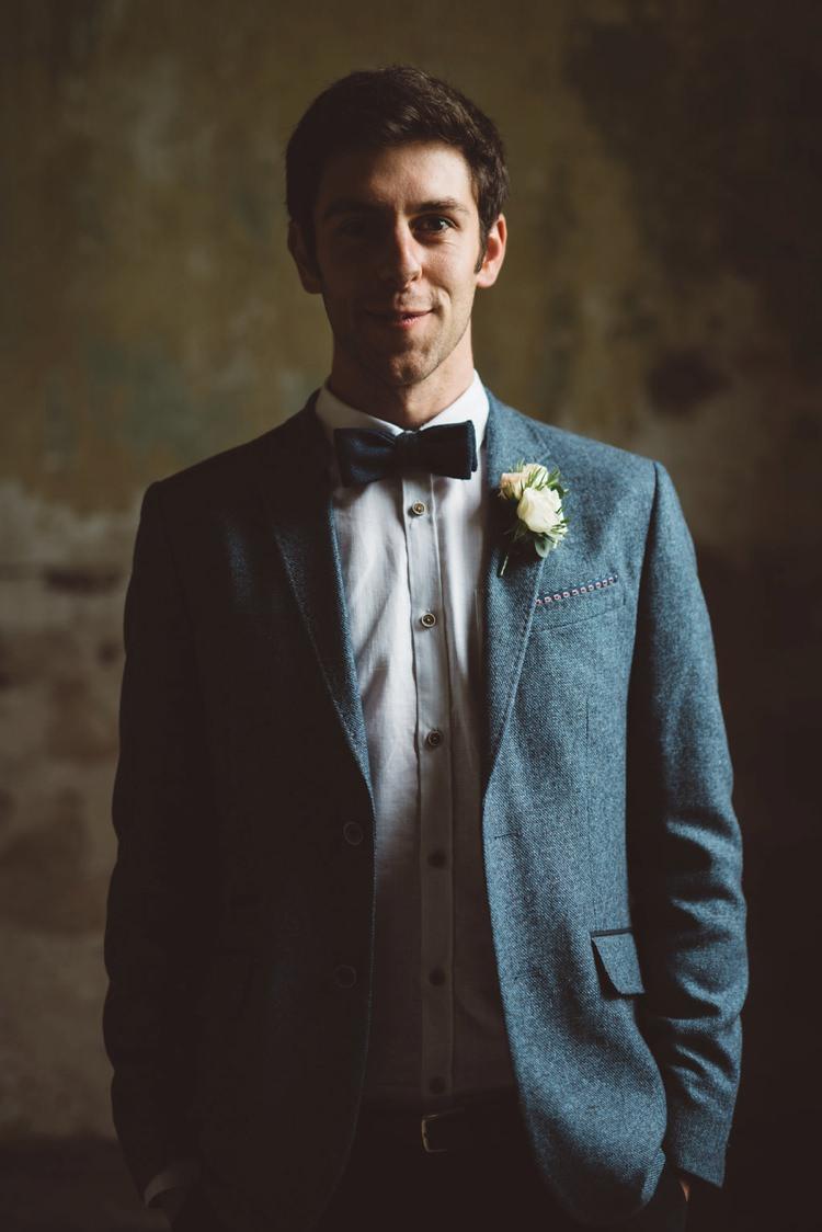 Chino Jacket Blue Bow Tie Groom Whimsical Boho Woodland Wedding http://katmervynphotography.com/