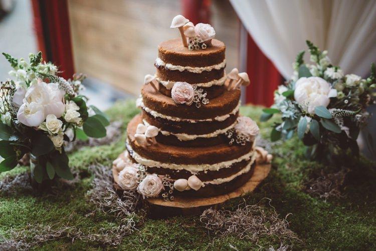 Cake Mushroom Moss Naked Layer Whimsical Boho Woodland Wedding http://katmervynphotography.com/