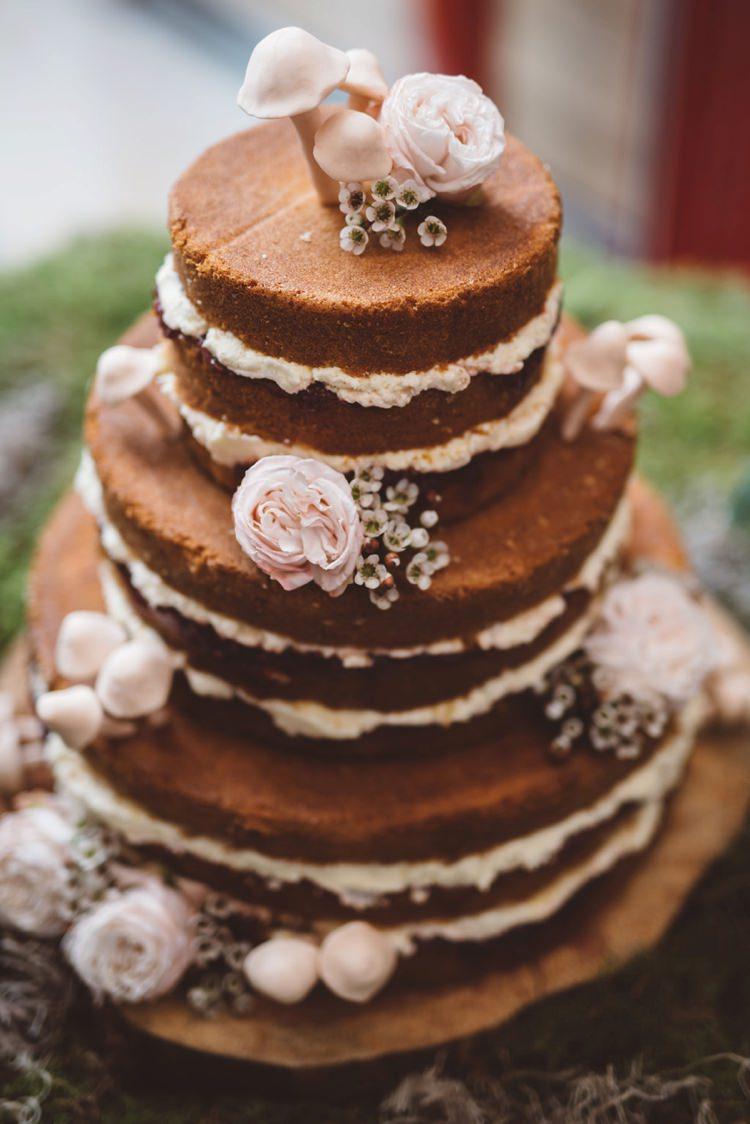 Naked Cake Layer Sponge Flowers Mushrooms Whimsical Boho Woodland Wedding http://katmervynphotography.com/