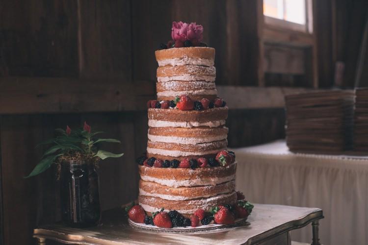 Nakde Cake Sponge Layer Vintage Bohemian Red Barn Wedding Illinois http://www.ronirosephotography.com/