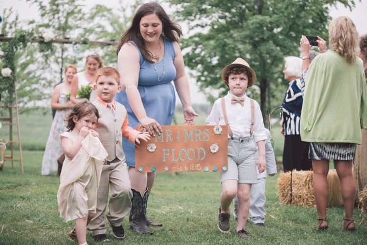 Mr and Mrs Sign Page Boy Flower Girl Vintage Bohemian Red Barn Wedding Illinois http://www.ronirosephotography.com/