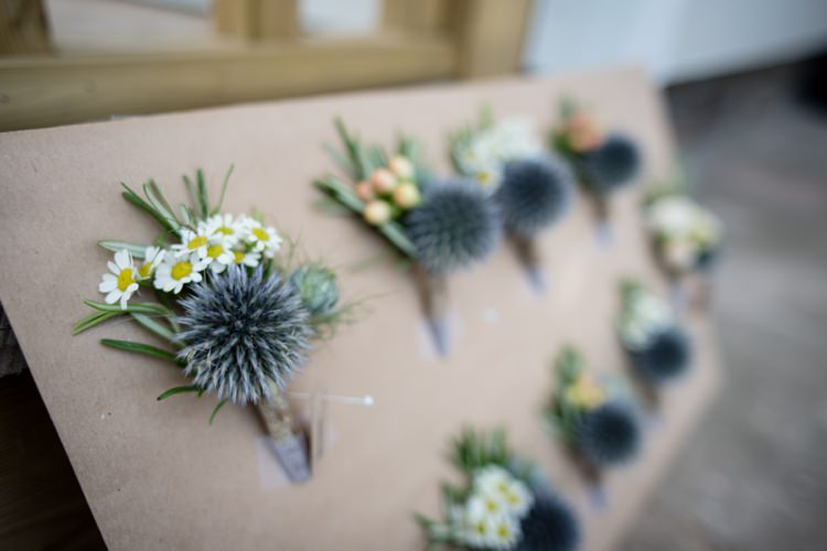 Thistle Daisy Buttonholes Beautiful Country Barn Relaxed Family Wedding http://hollybobbins.com/