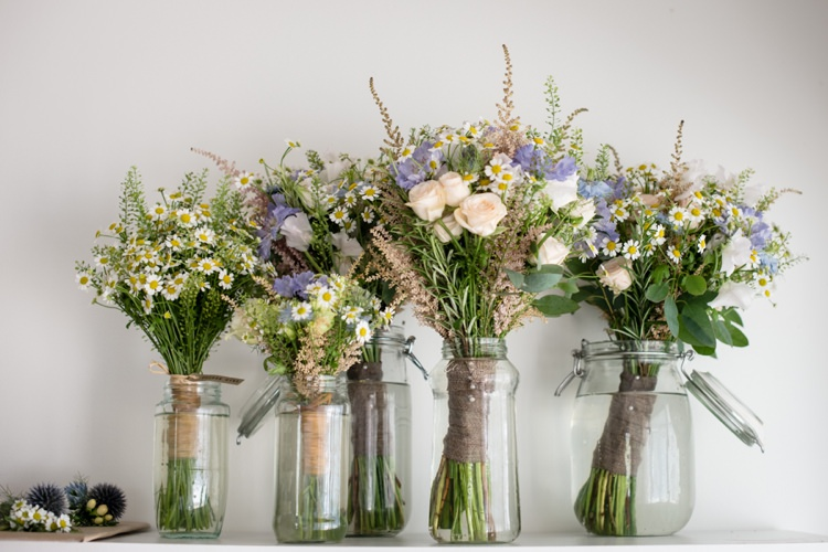 Pink Blue Bouquets Bridesmaids Flowers Beautiful Country Barn Relaxed Family Wedding http://hollybobbins.com/