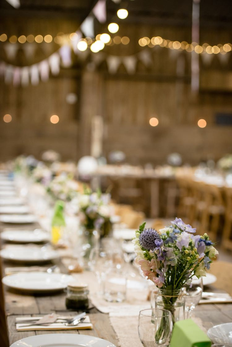 Barn Tables Wooden Long Hessian Flowers Fairy Lights Beautiful Country Barn Relaxed Family Wedding http://hollybobbins.com/