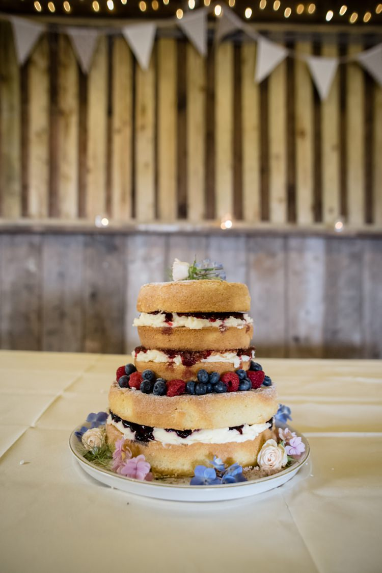Naked Cake Sponge Layer Fruit Berries Beautiful Country Barn Relaxed Family Wedding http://hollybobbins.com/