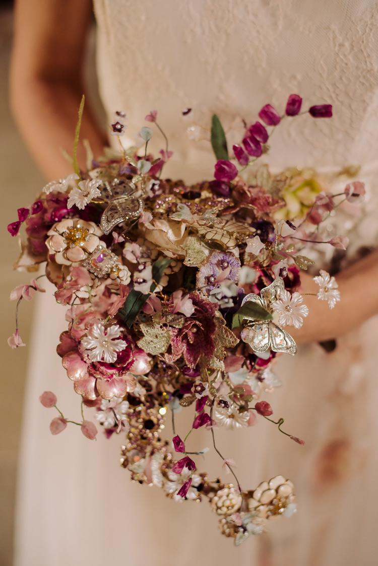 Brooch Bouquet Bride Bridal Alternative Cosy Candlelit Woodland Barn Wedding Ideas