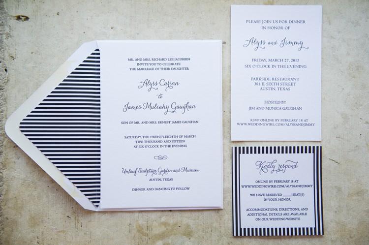 Stationery Stripe Invitations Modern Monochrome Sculpture Garden Wedding Texas http://www.coryryan.com/