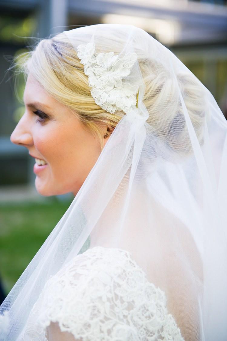 Cap Veil Lace Bride Bridal Modern Monochrome Sculpture Garden Wedding Texas http://www.coryryan.com/