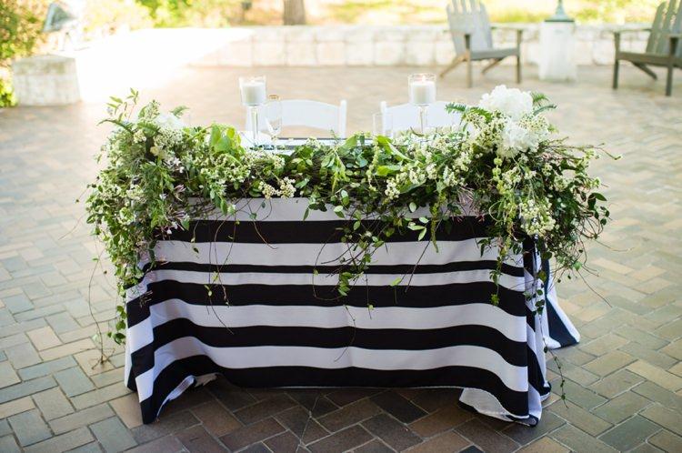 Sweetheart Table Stripe Foliage Modern Monochrome Sculpture Garden Wedding Texas http://www.coryryan.com/