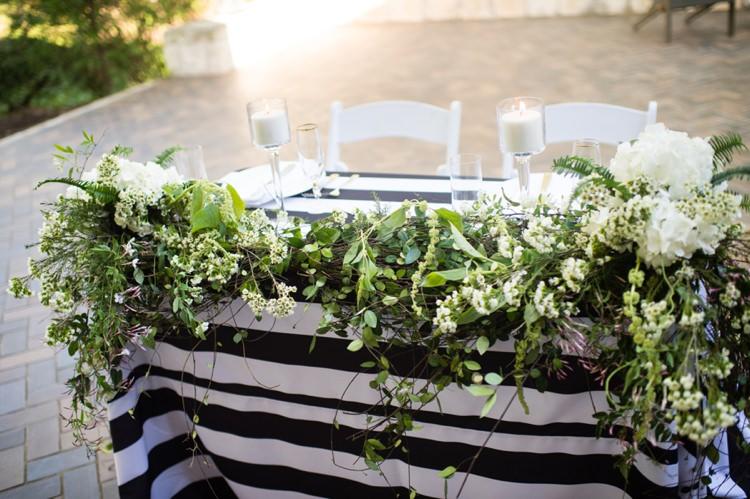 Foliage Top Table Arrangement Modern Monochrome Sculpture Garden Wedding Texas http://www.coryryan.com/