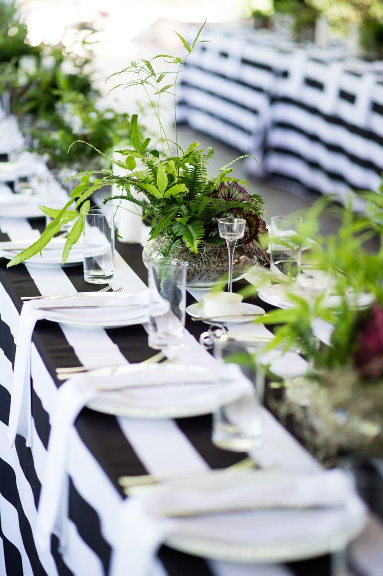 Table Stripe Foliage Tables Black White Modern Monochrome Sculpture Garden Wedding Texas http://www.coryryan.com/