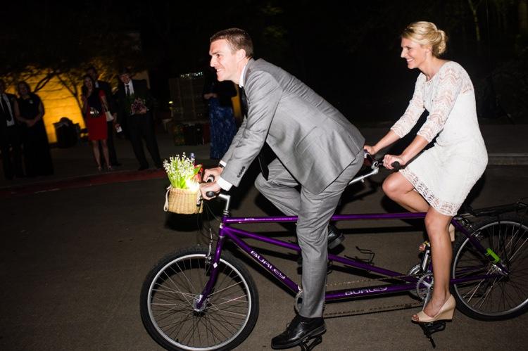 Tandem Bicycle Bride Groom Modern Monochrome Sculpture Garden Wedding Texas http://www.coryryan.com/