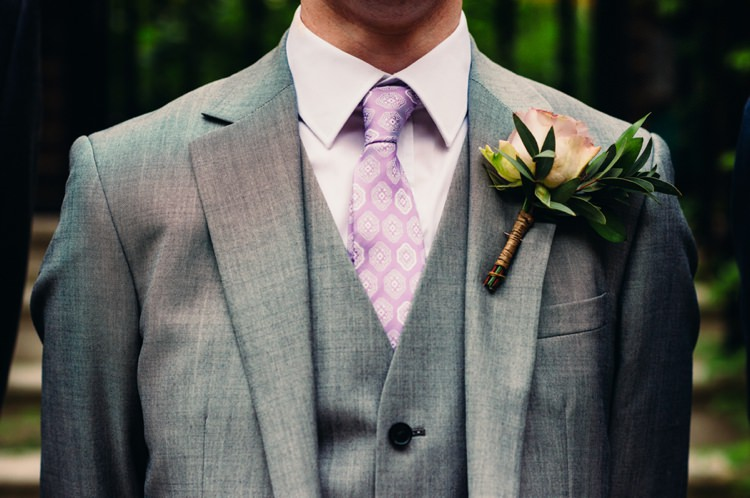 Lilac Tie Groom Rose Buttonhole Lavender Warehouse London Wedding http://www.babbphoto.com/