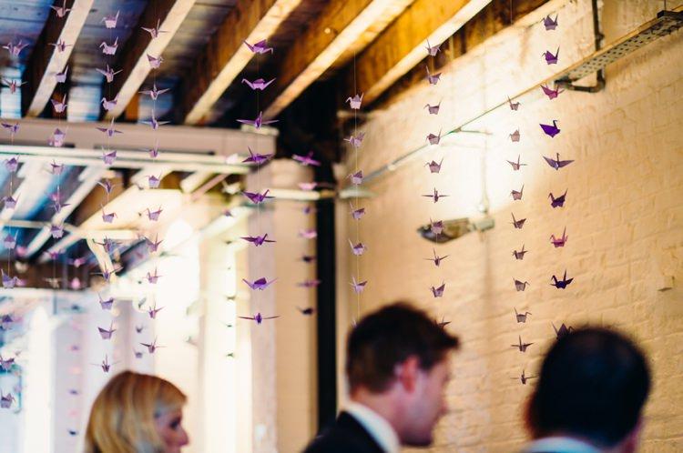 Purple Paper Cranes Lavender Warehouse London Wedding http://www.babbphoto.com/