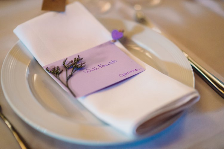 Place Name Setting Lavender Warehouse London Wedding http://www.babbphoto.com/