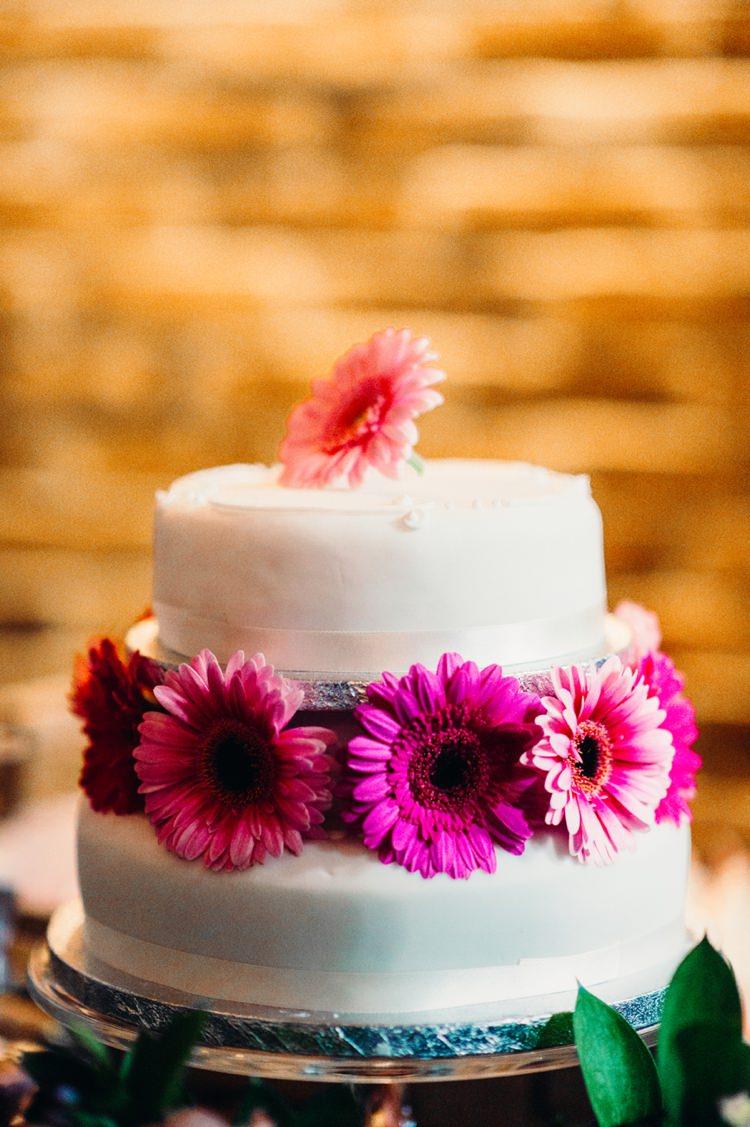 Marks Spencer Cake Gerbera Pink Flowers Lavender Warehouse London Wedding http://www.babbphoto.com/