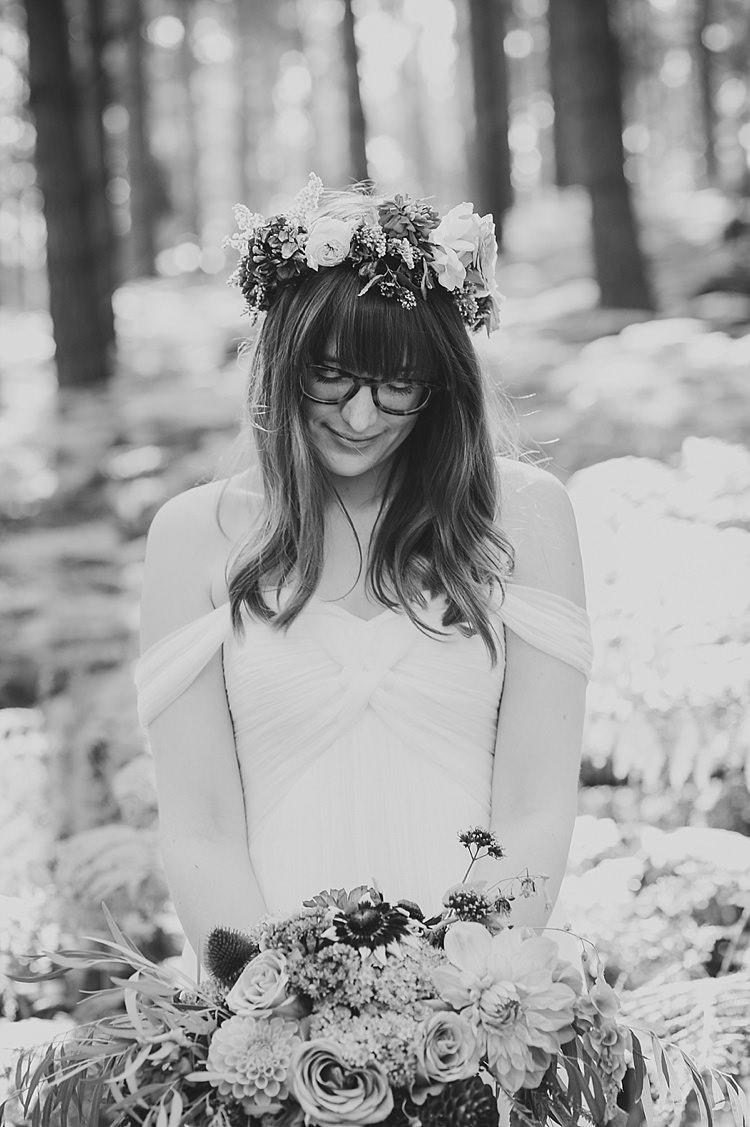 Waves Wavy Hair Bride Fringe Bangs Glasses Flower Crown Our Whimsical Woodland Wedding Ceremony UK http://alexa-loy.com/