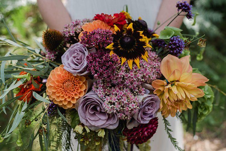 Dahlia, Sedum, Rudbeckia, Bells of Ireland, Amaranthus, Zinnia, Nicotiana, Coreopsis Bouquet Autumn Our Whimsical Woodland Wedding Ceremony UK http://alexa-loy.com/