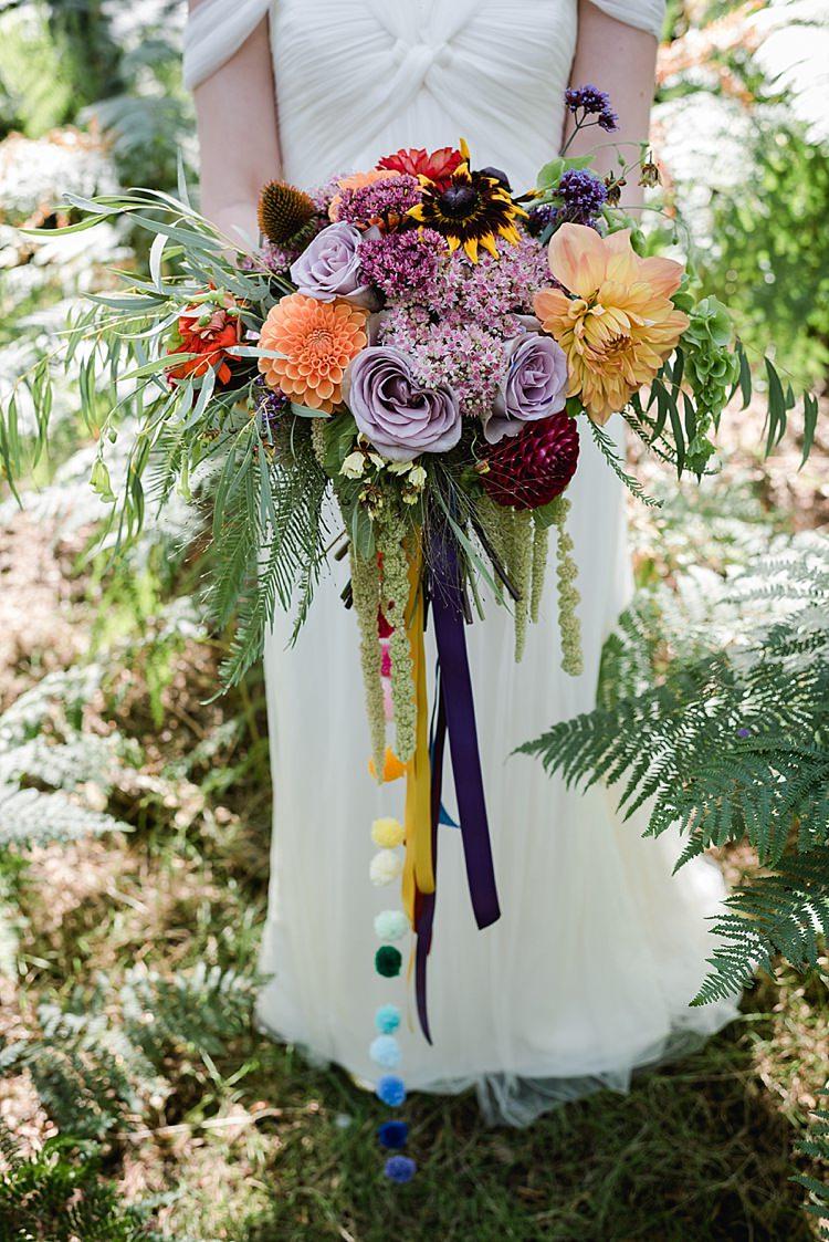 Pom Pom Ribbon Bouquet Rainbow Colourful Seasonal Autumn Flowers Bride Bridal Our Whimsical Woodland Wedding Ceremony UK http://alexa-loy.com/