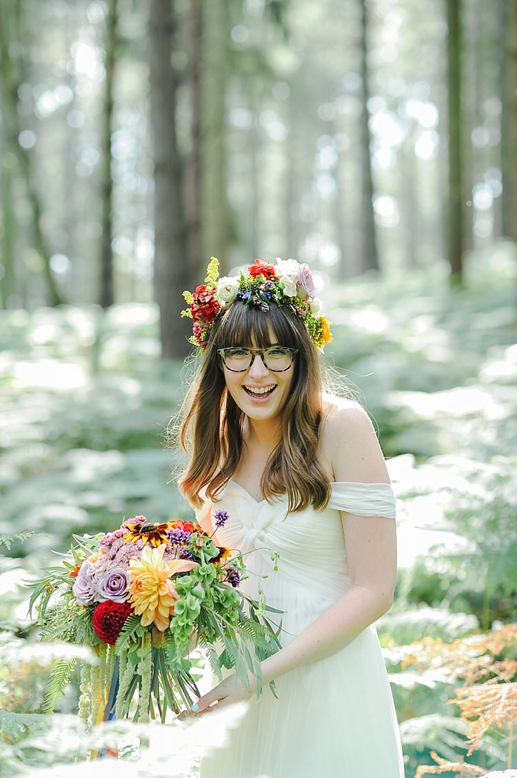 Off Shoulder Dress Gown Bride Bridal Tulle Our Whimsical Woodland Wedding Ceremony UK http://alexa-loy.com/