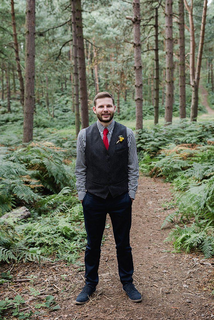 Navy Chinos Waistcoat Groom Brogues Our Whimsical Woodland Wedding Ceremony UK http://alexa-loy.com/