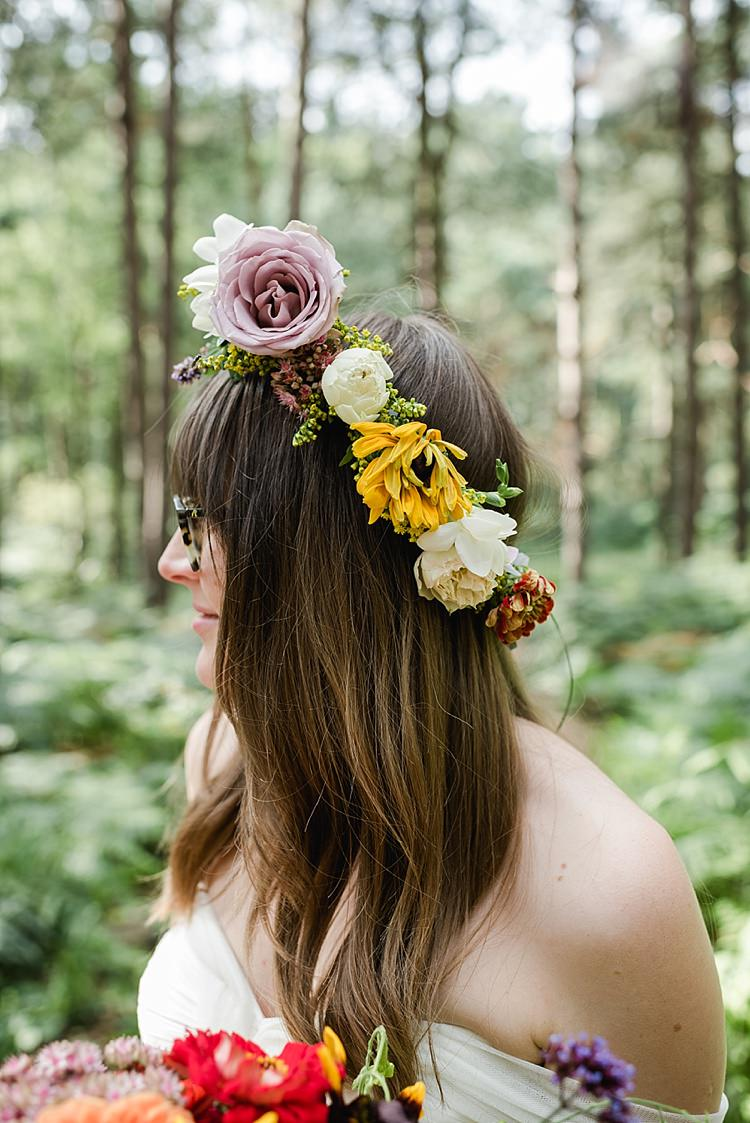 Flower Crown Bride Bridal Autumn Lilac Yellow Ivory Our Whimsical Woodland Wedding Ceremony UK http://alexa-loy.com/
