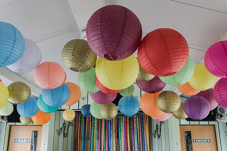 Lanterns Hanging Colourful Rainbow Gold Camp Wedding Party http://alexa-loy.com/