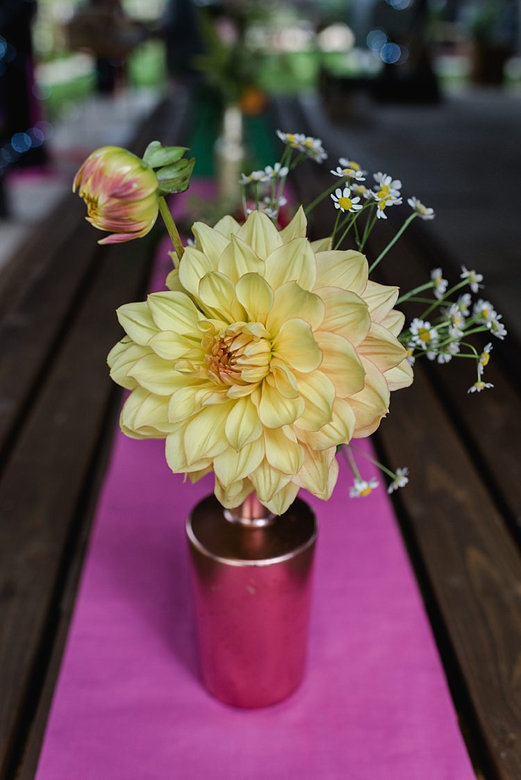 Dahlia Daisy Flowers Copper Bottle Centrepiece Yellow Pink Colourful Rainbow Gold Camp Wedding Party http://alexa-loy.com/