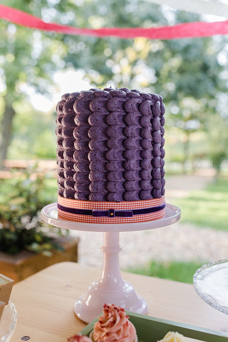 Purple Retro Butter Cream Cake Stand Colourful Rainbow Gold Camp Wedding Party http://alexa-loy.com/