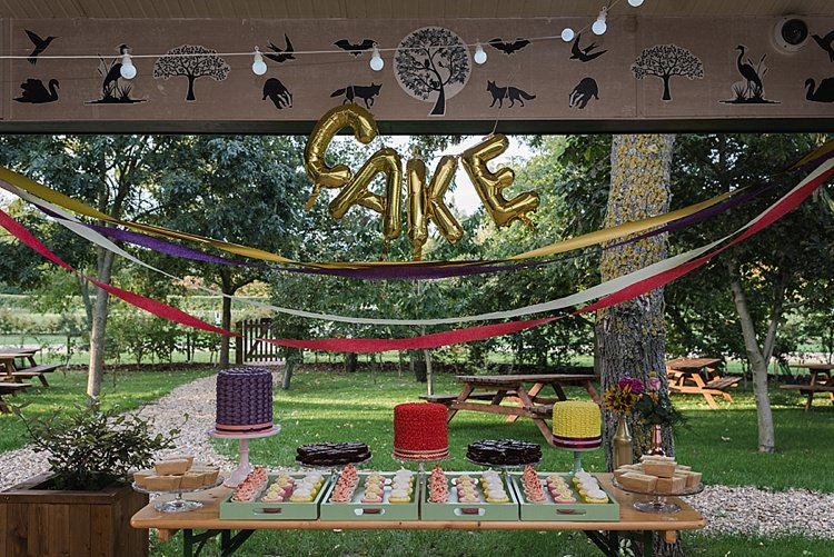 Cake Dessert Table Balloons Streamers Colourful Rainbow Gold Camp Wedding Party http://alexa-loy.com/