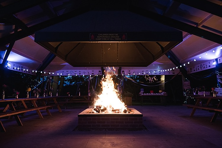 Henlow Bridge Lakes Fire Pit Colourful Rainbow Gold Camp Wedding Party http://alexa-loy.com/
