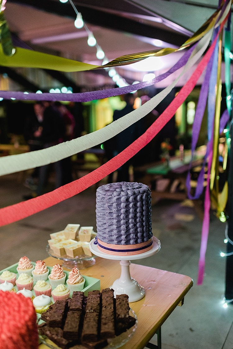 Crepe Paper Streamers Cake Dessert Table Colourful Rainbow Gold Camp Wedding Party http://alexa-loy.com/