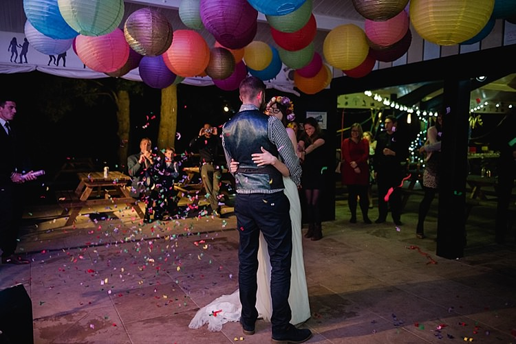 Confetti Cannon First Dance Colourful Rainbow Gold Camp Wedding Party http://alexa-loy.com/