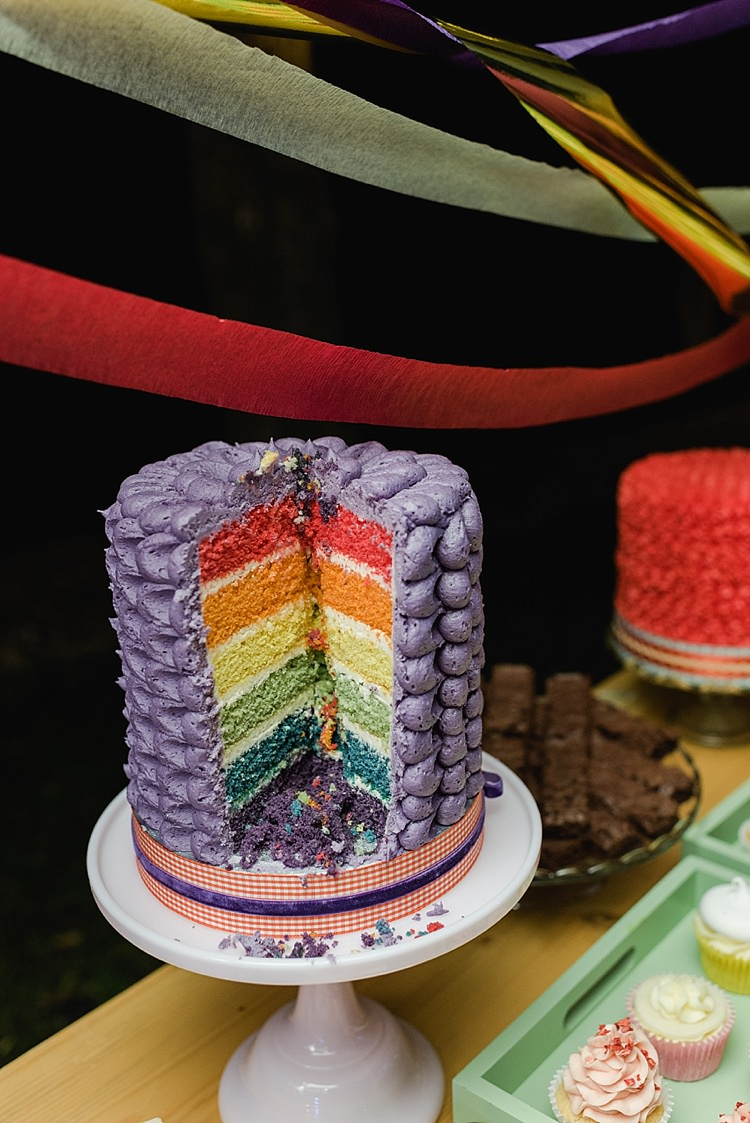 Cake Colourful Rainbow Gold Camp Wedding Party http://alexa-loy.com/