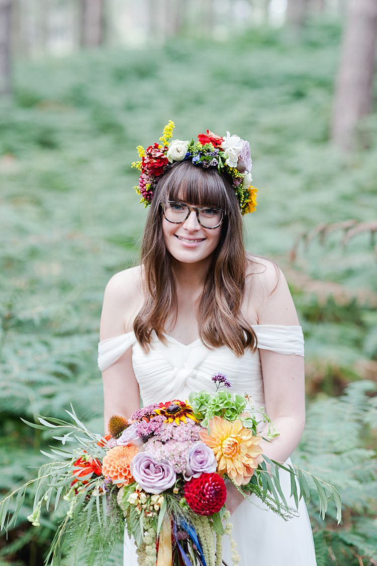 Glasses Flower Crown Bride Bridal Wavy Hair Fringe Bangs Our Whimsical Woodland Wedding Ceremony UK http://alexa-loy.com/
