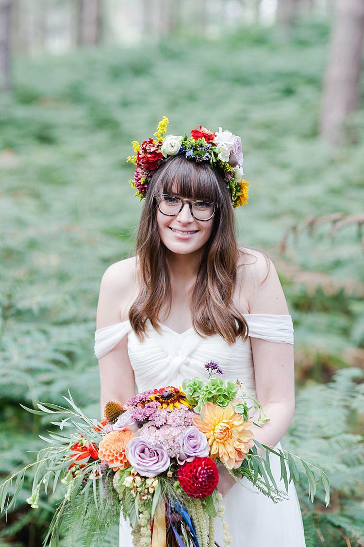 Glasses Flower Crown Bride Bridal Wavy Hair Fringe Bangs Our Whimsical Woodland Wedding Ceremony UK http://alexa-loy.com/