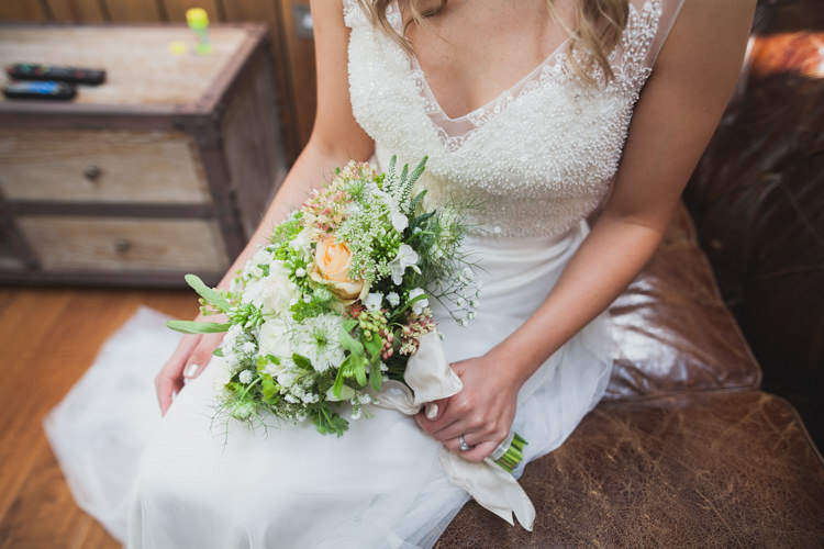 Bride Bridal Bouquet Flowers White Peach Roses Indie Rustic DIY Fun Wedding Party http://www.sallytphotography.com/