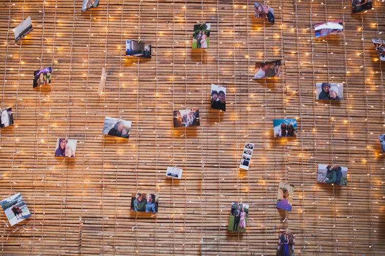 Photo Wall Fairy Lights Indie Rustic DIY Fun Wedding Party http://www.sallytphotography.com/